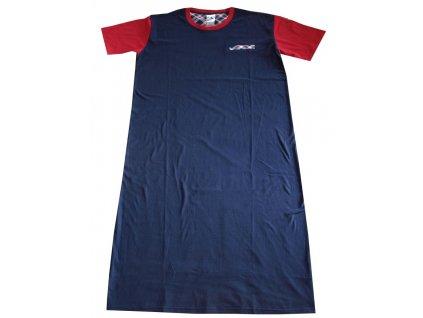 Noční košile s čepičkou tmavě modrá s červenou