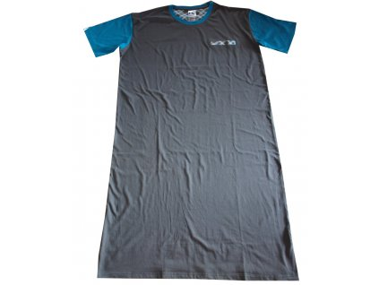 Noční košile s čepičkou šedá s tyrkysovou