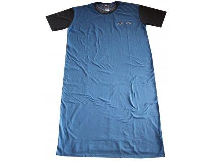 Noční košile s čepičkou světle modrá s šedou