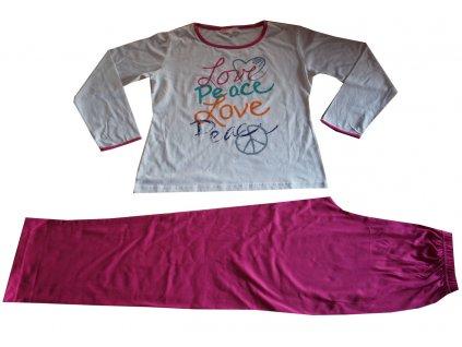 Dámské, dívčí pyžamo bílé s růžovou