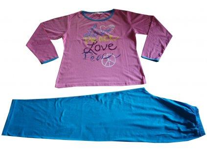 Dámské, dívčí pyžamo tmavě růžové s modrou