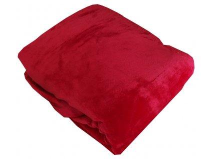 Mikroplyšové prostěradlo červené180x200