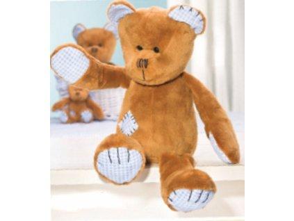 Medvídek hnědý plyšový se záplatou