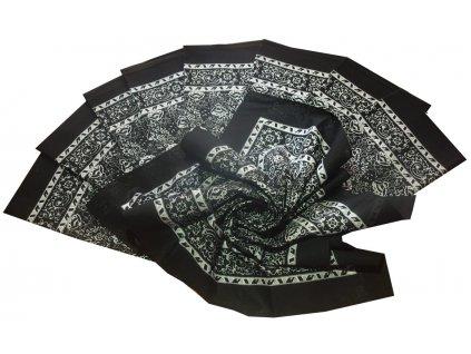 Bavlněný šátek velký černý květovaný