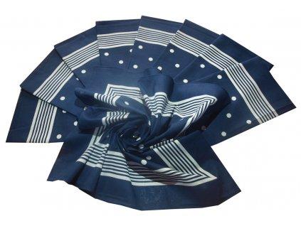 Bavlněný šátek velký modrý s puntíky