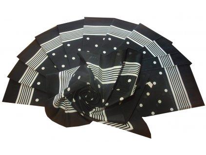 Bavlněný šátek velký černý s puntíky