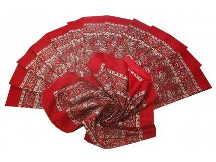 Bavlněný šátek velký červený květovaný 70x70cm