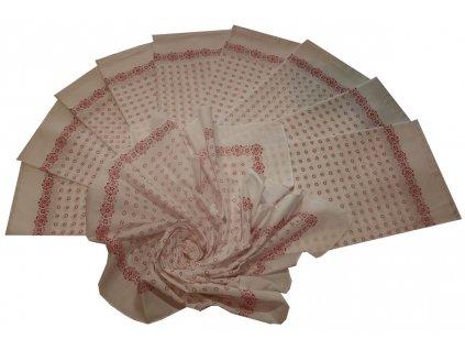 Bavlněný šátek velký bílý s potiskem