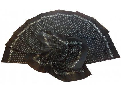 Bavlněný šátek velký černý s potiskem 70x70cm