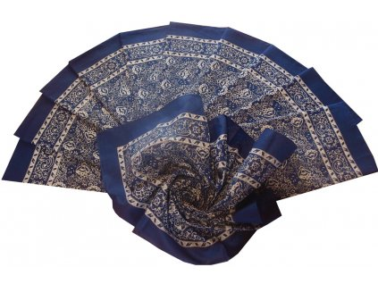 Bavlněný velký šátek modrý květovaný