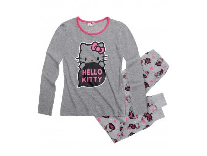 Bavlněné Hello Kitty pyžama šedé