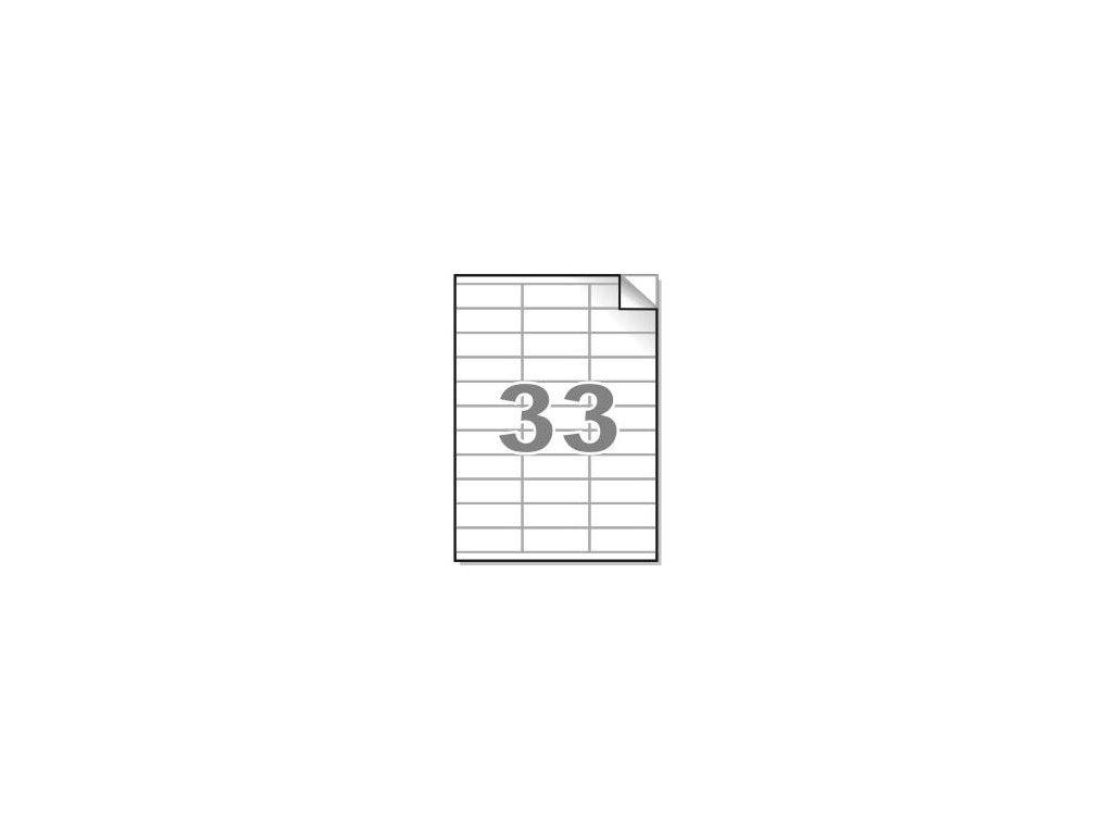 Samolepící etikety A4, 70x25,4 mm, 33ks/arch - hranaté 100l.