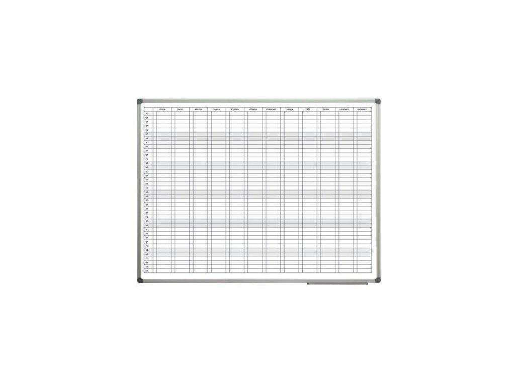 Magnetická tabule plánovací roční 90x120 cm Alu rám