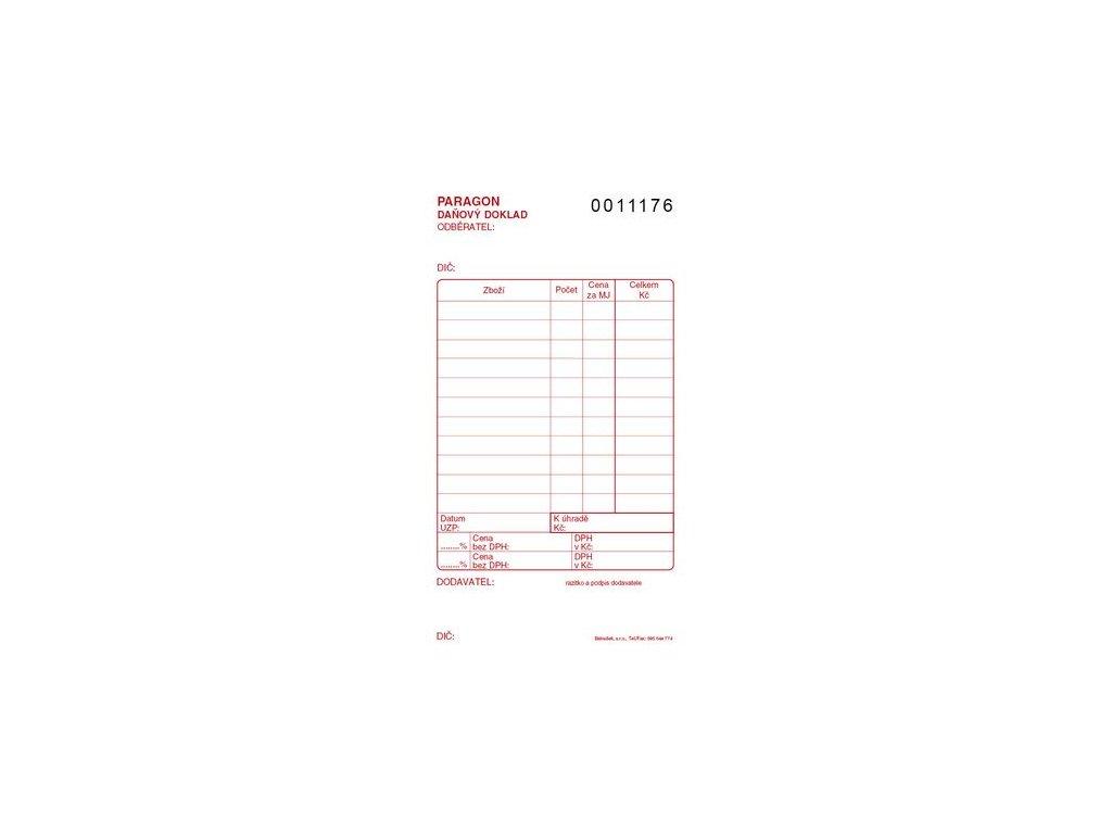Paragon danový doklad číslovaný PT012