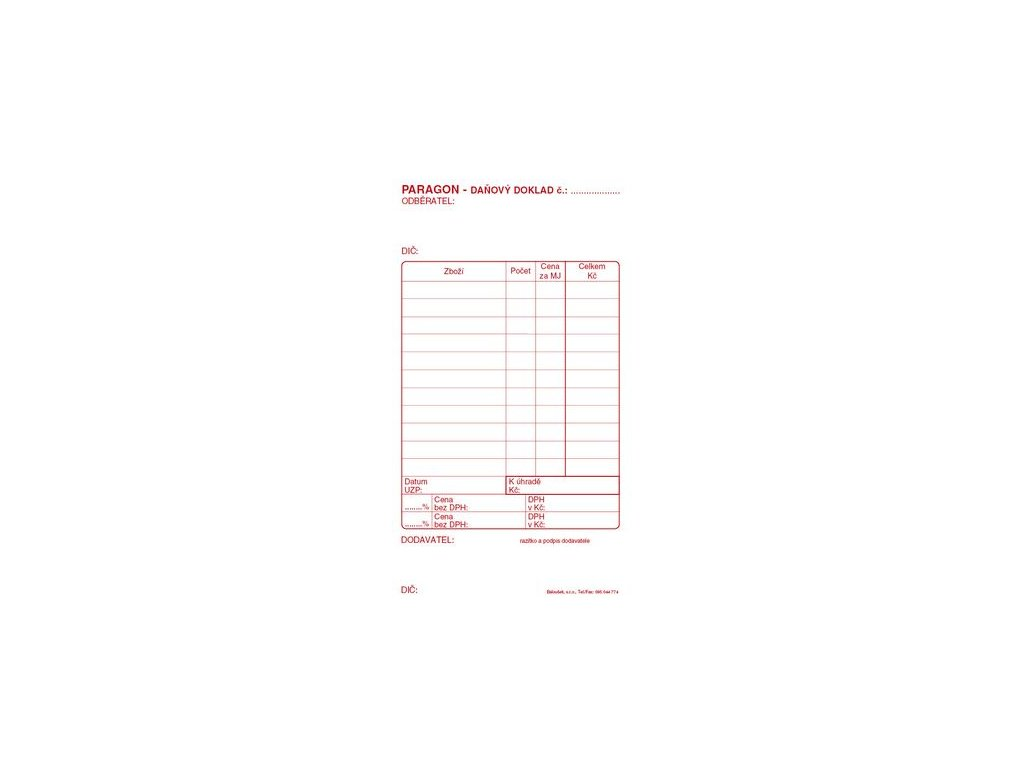 Paragon daňový doklad PT010  Samoprop.