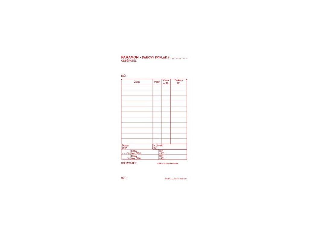 Paragon daňový doklad PT010