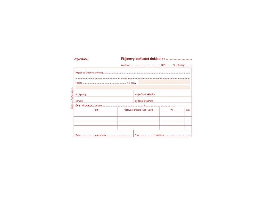 Příjmový pokladní doklad A6 pro podvoj. účetnictví PT030