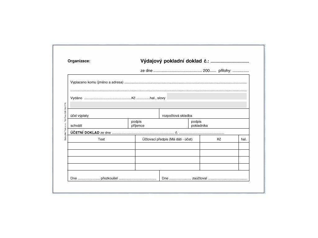 Výdajový pokladní doklad i pro podvojné účetnictví PT050