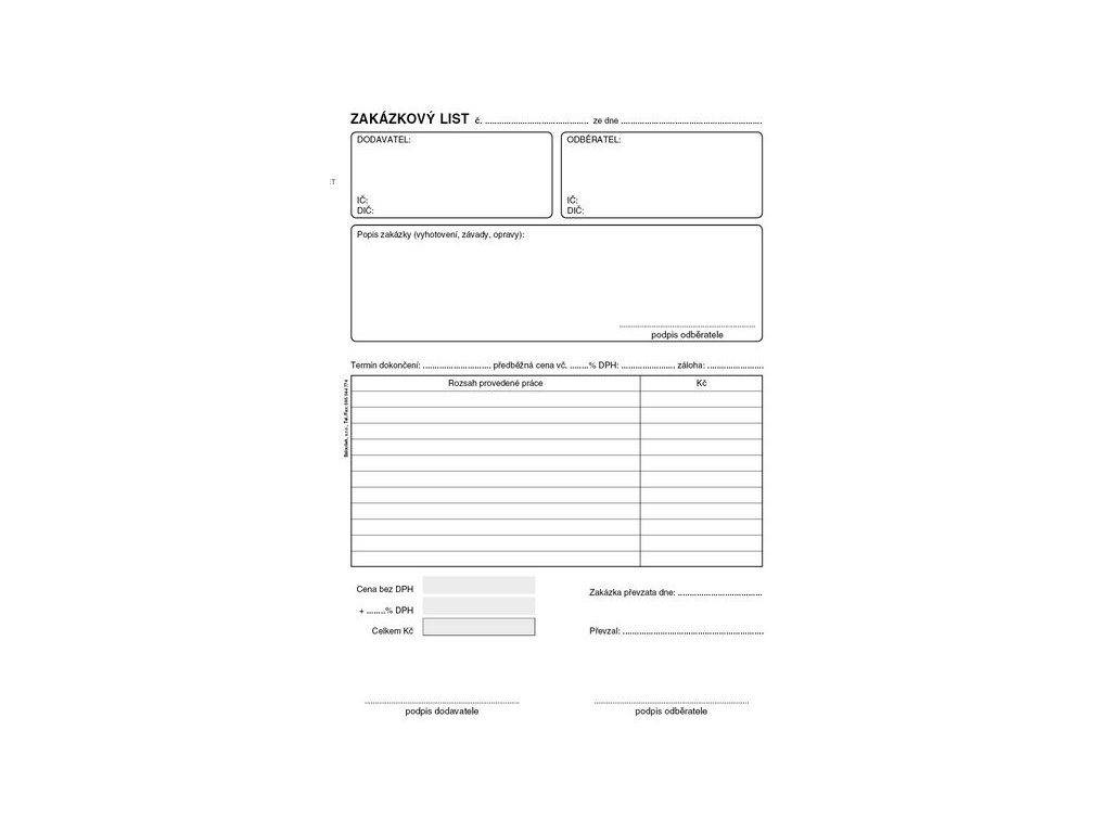 Zakázkový list A5 PT180