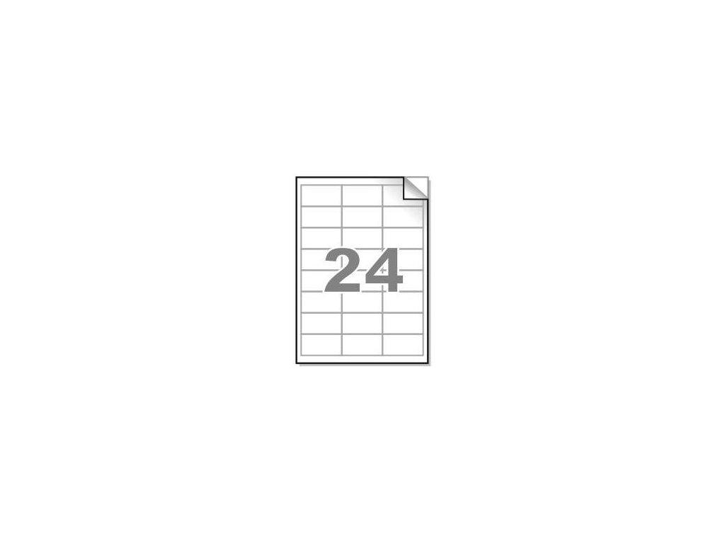 Samolepící etikety A4, 64,6x33,8mm, 24ks/arch - hranaté 100l.