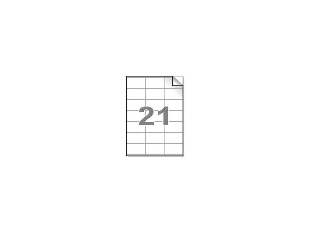 Samolepící etikety A4, 70x41 mm, 21ks/arch - hranaté 100l.