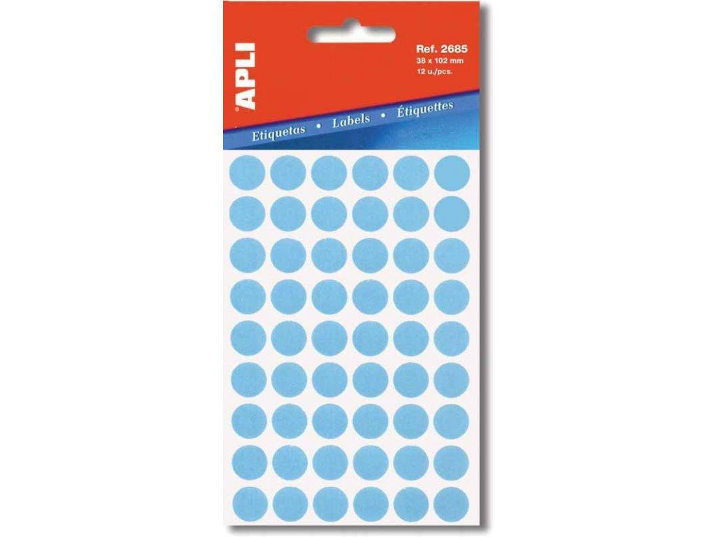 Etikety Apli kulaté 8mm modré 288 etiket