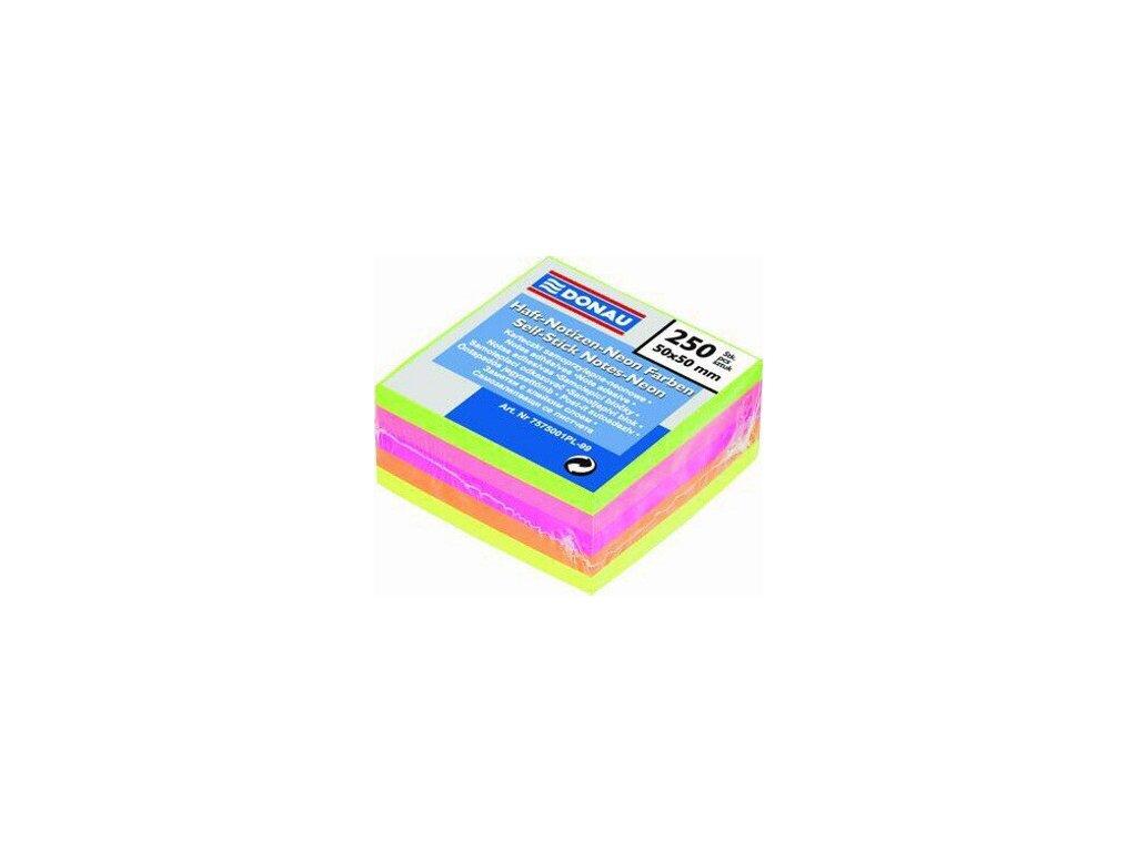Samolepící bloček 50x50 mm Donau Neonový 5barev 250 lístků