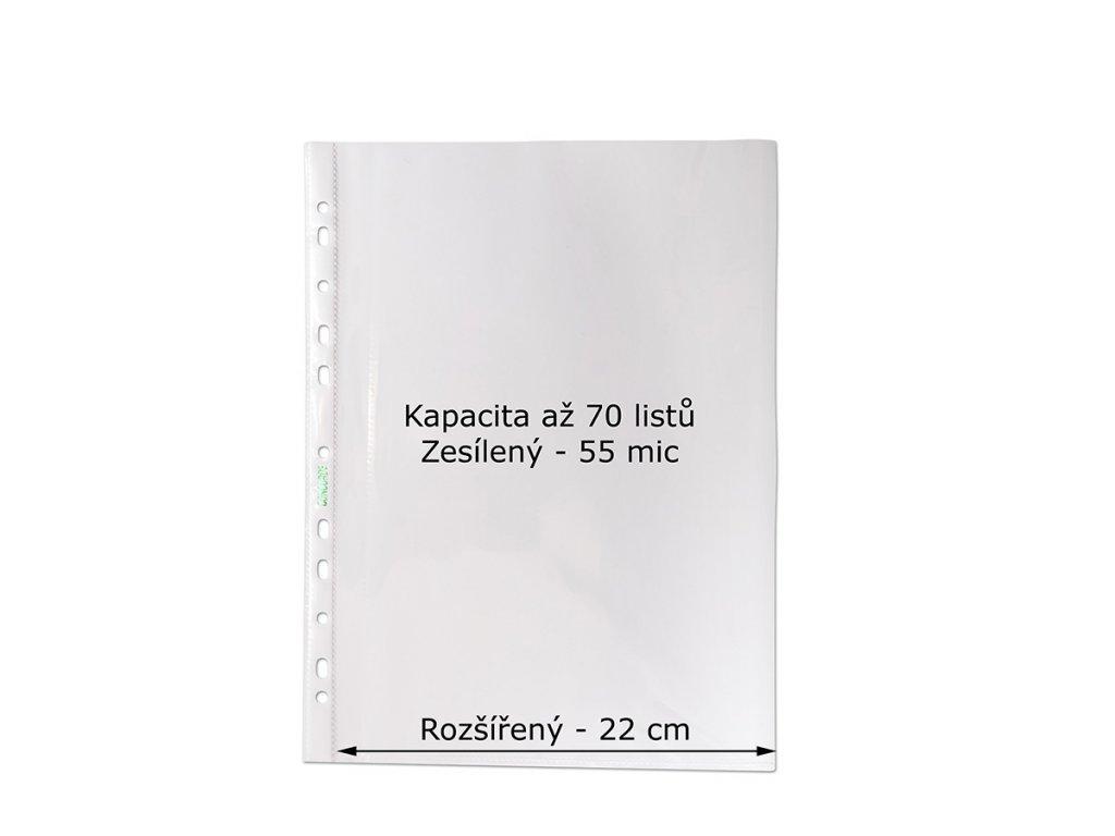 Prospektový obal A4 U MAXI, rozšířený 22cm, až 70 listů, 55 mic., 100 ks