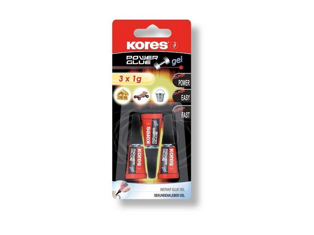 Lepidlo vteřinové KORES Power Glue gel 3 x 1g