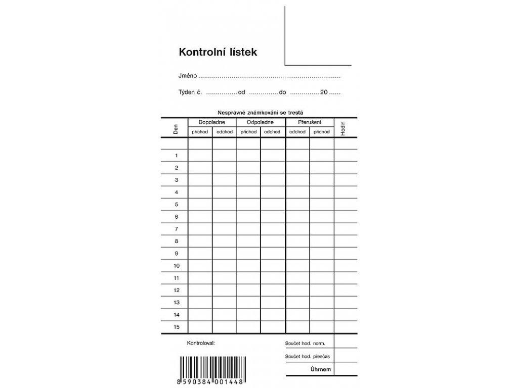 Kontrolní lístek, píchačka - 1 list 1144