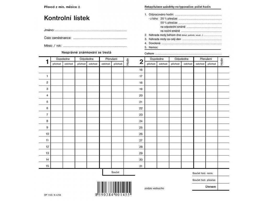 Kontrolní lístek, dvojitá píchačka - 2 listy 1145