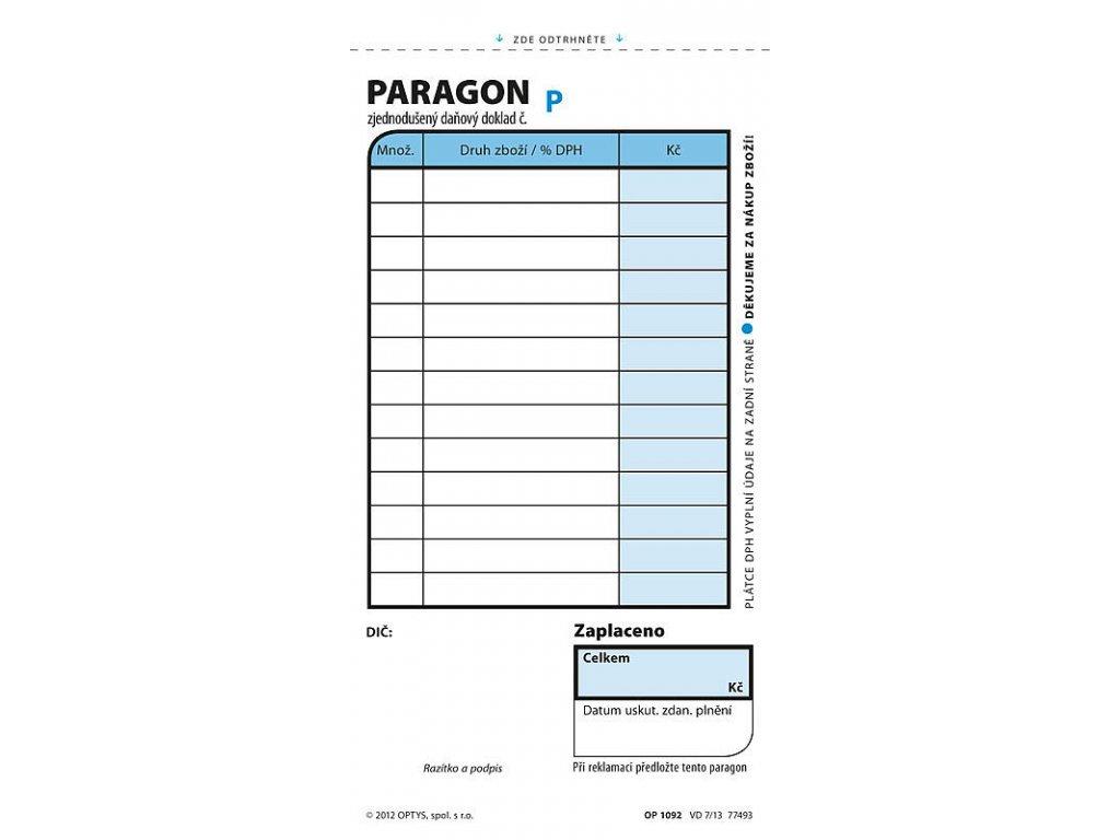 Obchodní paragon, číslovaný, 2 x 50 listů 1092