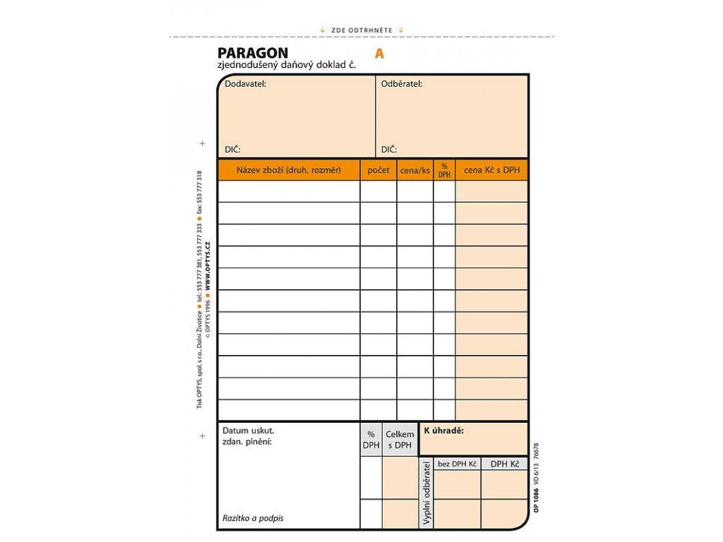 Paragon A6, samopropisovací, číslovaný, 2 x 50 listů 1086