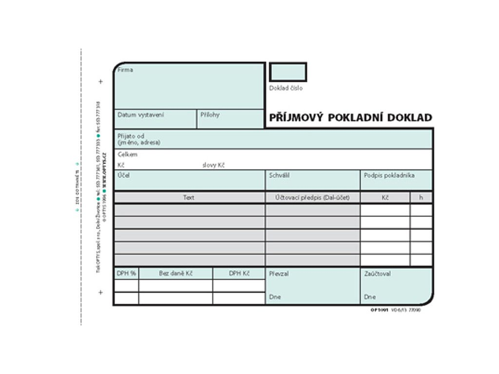 Příjmový doklad A6, samopropisovací, 2 x 50 listů 1091