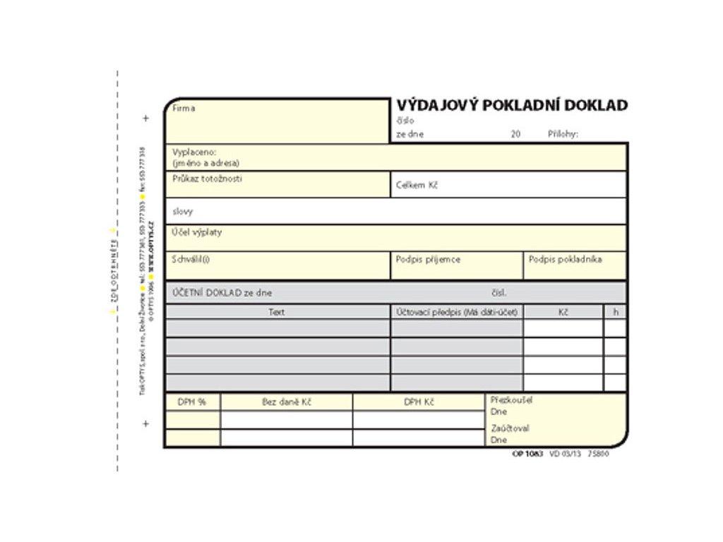 Výdajový doklad A6, samopropisovací, 100 listů 1083