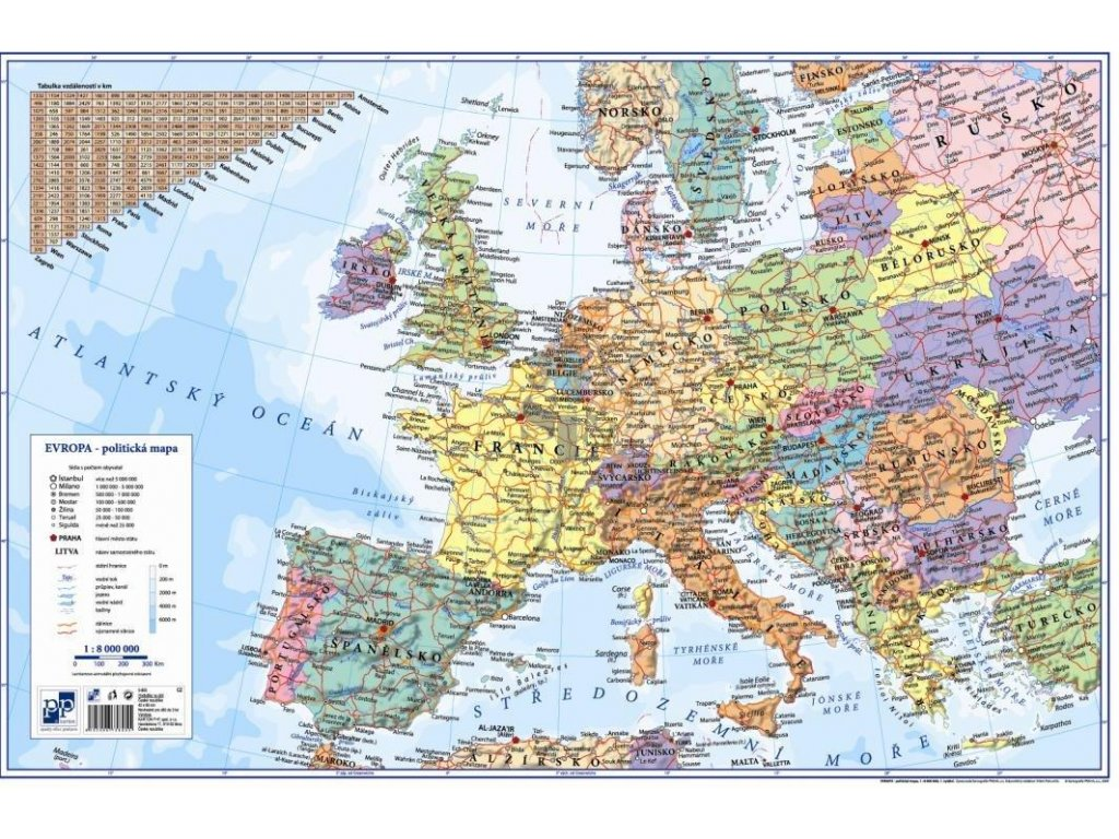 Podložka na stůl - mapa Evropy