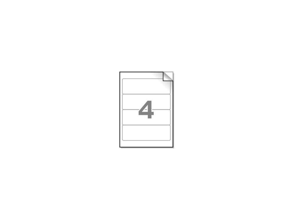 Samolepící etikety A4, 190x61mm, 4ks/arch - zaoblené 100l.
