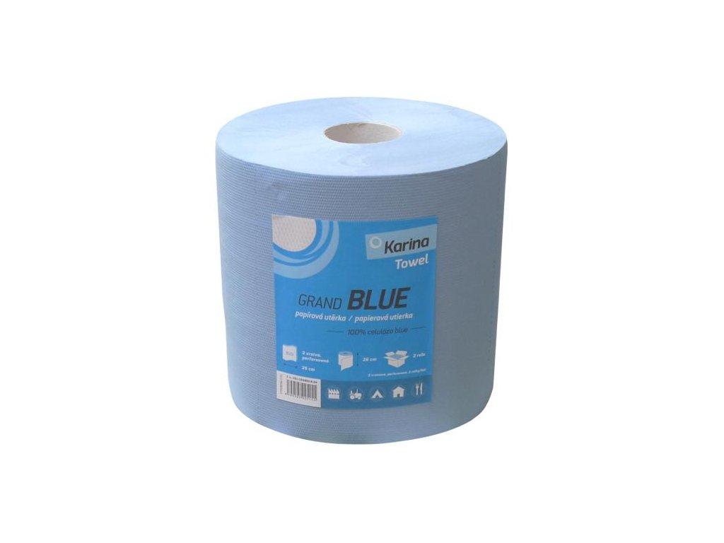 Papírové ručníky v roli Karina Grand Blue 2 vrstvy, průměr 26cm návin 230m 1