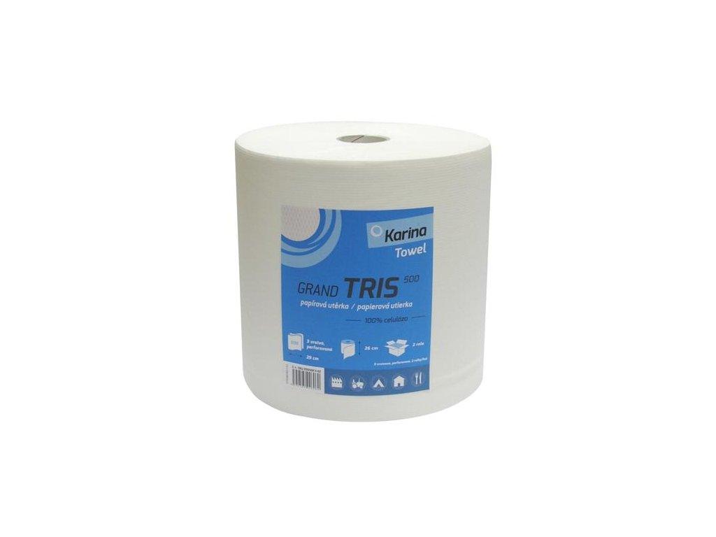 Papírový ručník Karina TRIS 500 3 vrstvy,šíře 26cm bílá celulóza