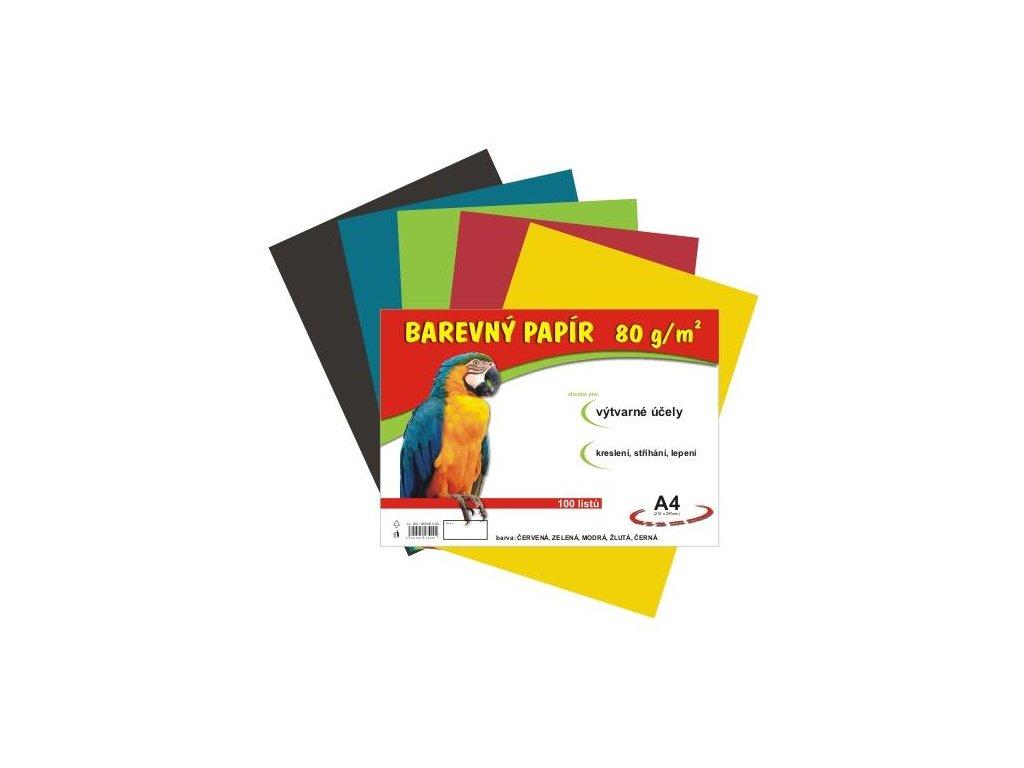 Barevný papír A4 80g, 100 listů 5 barev