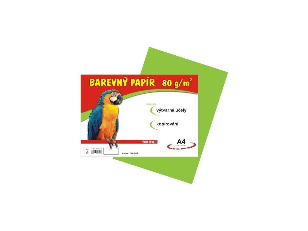 Barevný papír A4 80g, 100 listů zelený