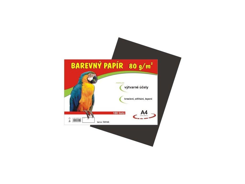 Barevný papír A4 80g, 100 listů černý