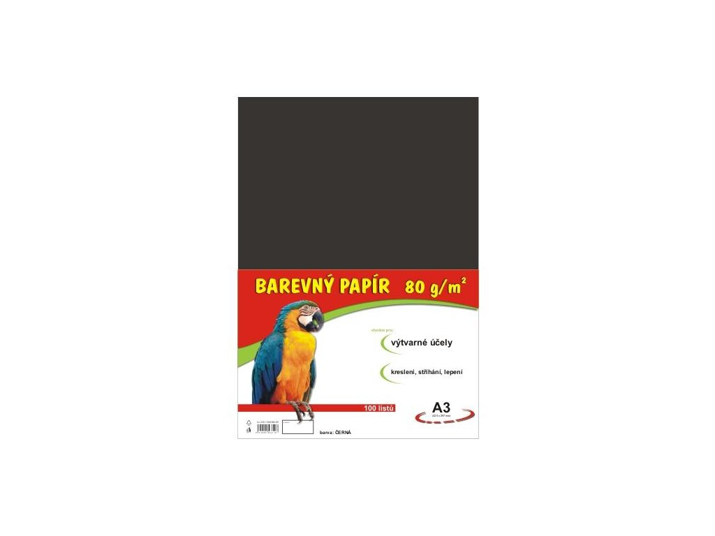 Barevný papír A3 80g, 100 listů černý