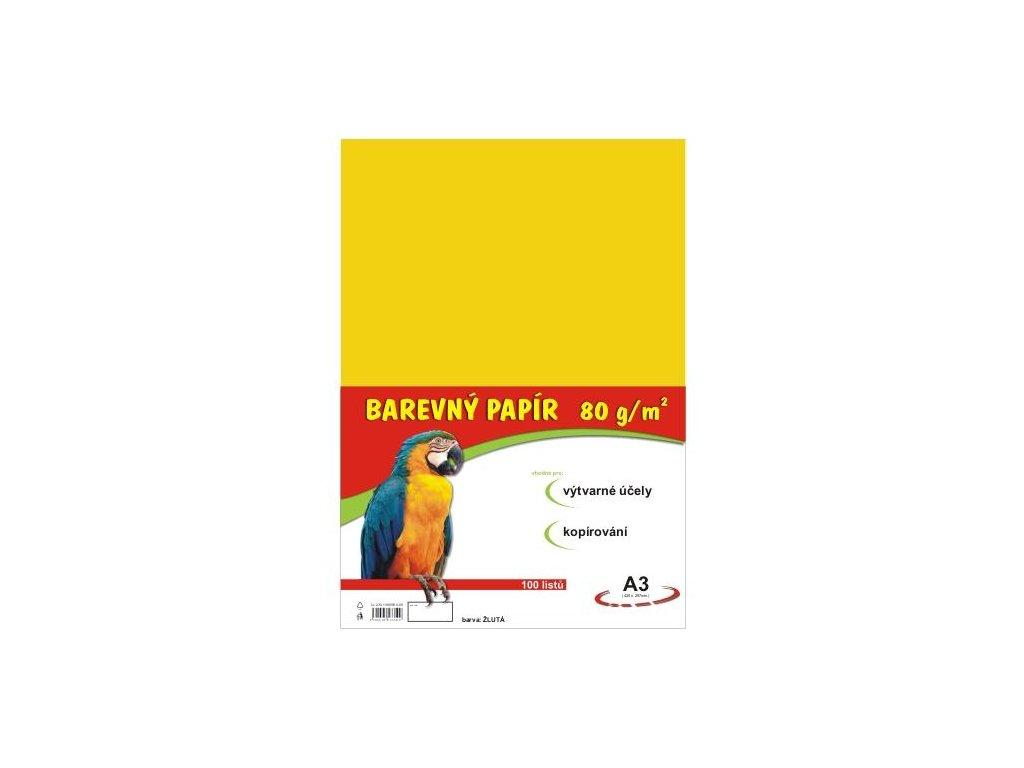 Barevný papír A3 80g, 100 listů žlutý