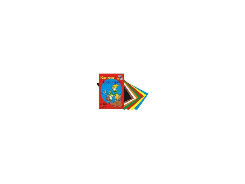 Složka barevných lepících papírů A4 80g, 8listů