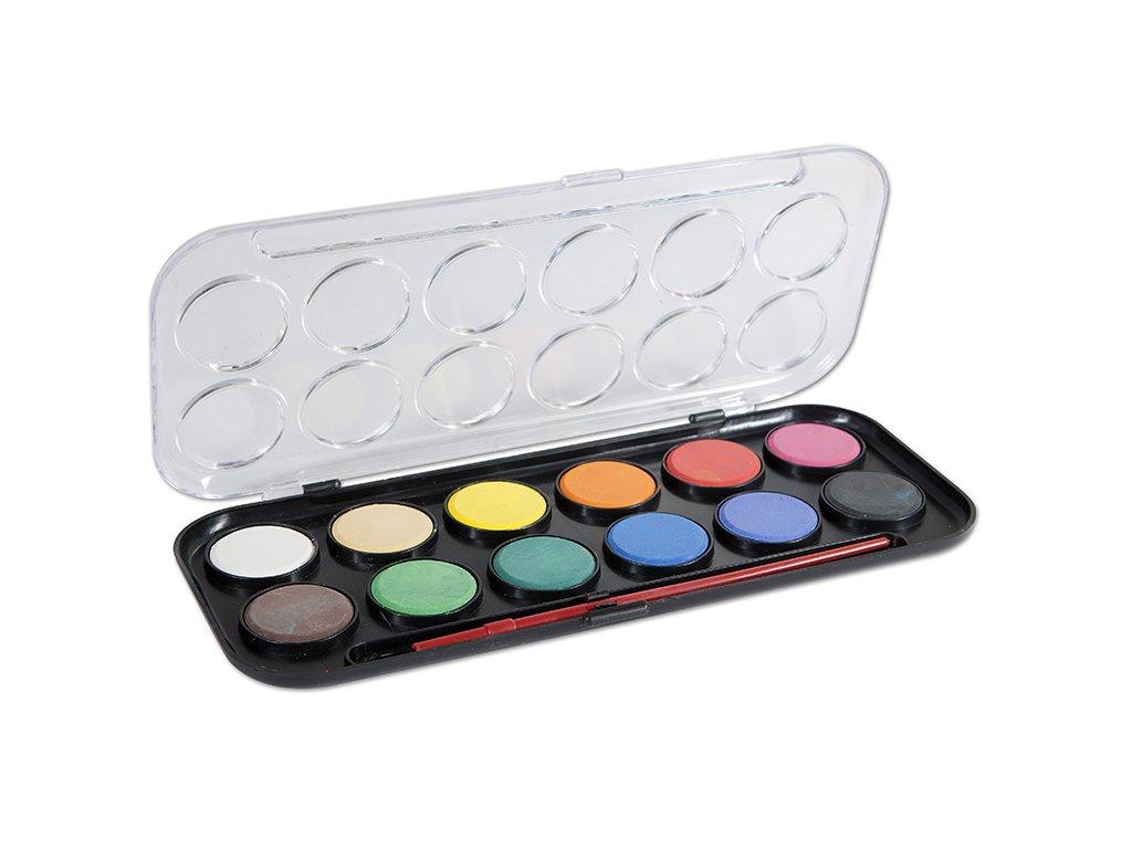 Vodové barvy CONCORDE + štetec, 12 barev, průměr 30mm
