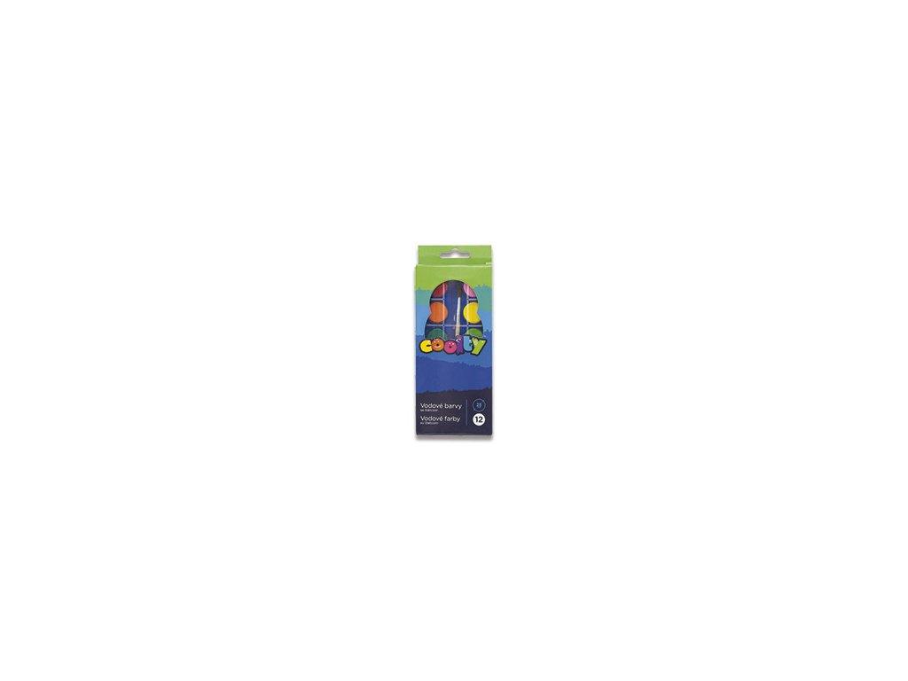 Vodové barvy Coolty + štetec, 12 barev, průměr 28mm