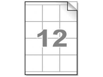 Samolepící etikety A4, 70x67,7mm, 12ks/arch - hranaté 100l.