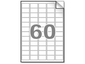 Samolepící etikety A4, 37,5x23,5 mm, 60ks/arch - zaoblené 100l.
