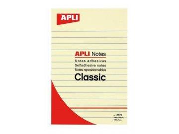 Samolepicí bloček 150x100 mm, APLI, linkovaný, žlutý 100 lístků
